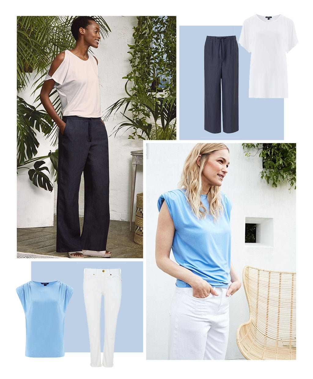 Shop Ros Top with LENZING™ ECOVERO™ Pure White, Lucy Hemp Trouser Navy, Alice Top with LENZING™ ECOVERO™ Sky Blue, The Organic Boyfriend Jean Off White and more