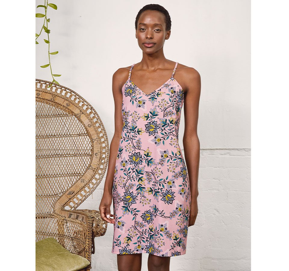 Shop Clementine Organic Slip Dress Rose Jacobean Print and more
