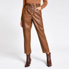 Shop River Island Womens Beige faux leather paperbag button trousers and more