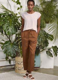 Shop Cooper Linen Blend Trouser Teak and more