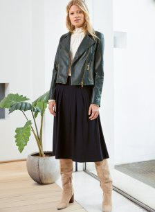 Shop Everyday Leather Biker Jacket Forest Green and more