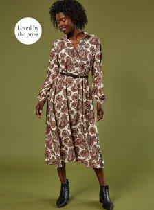 Shop Saffron Shirt Dress Almond Paisley Print and more