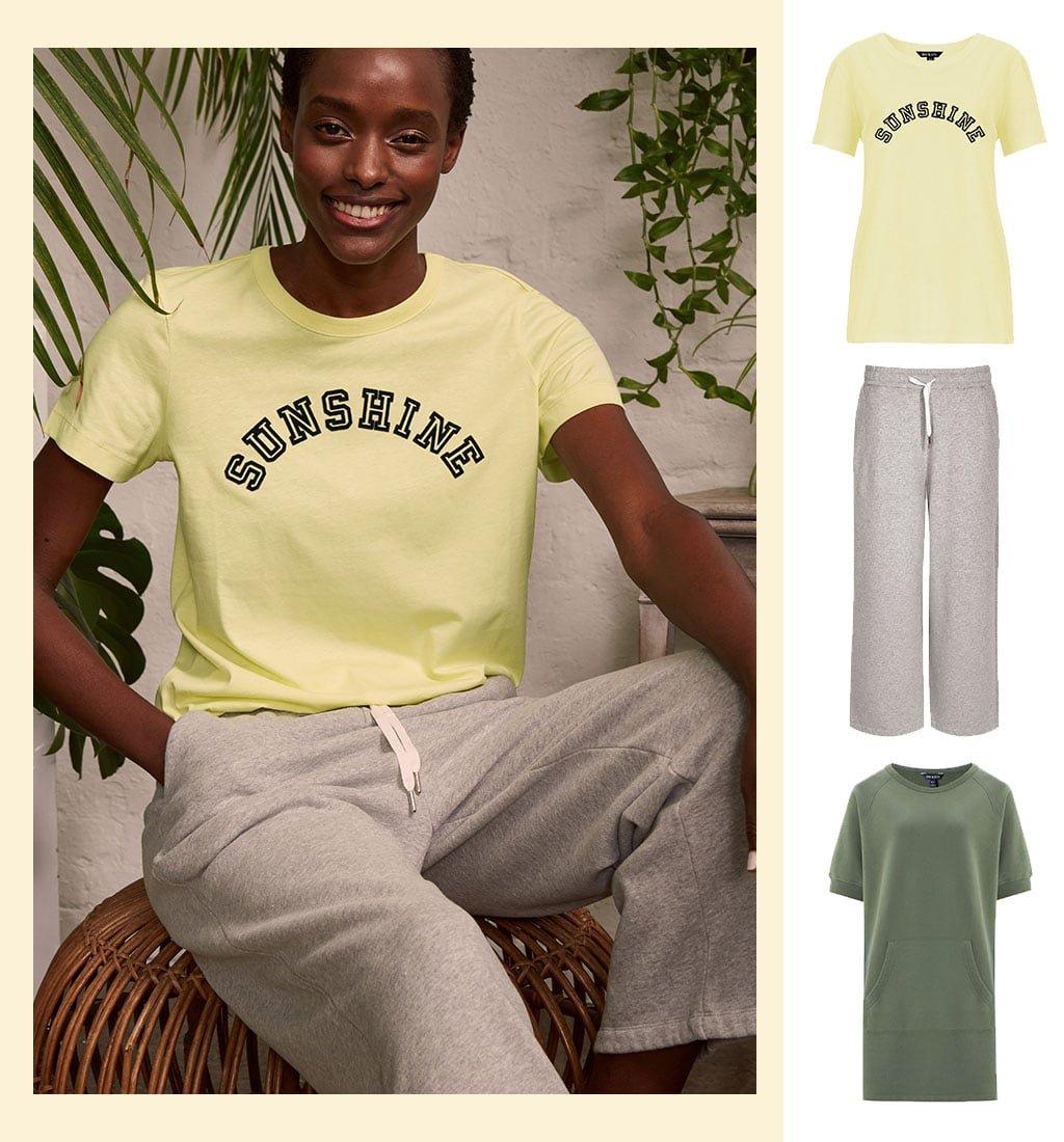 Shop Sonny Organic Tee Lemon Sorbet, Brooklyn Organic Jogger Grey Marl, Lara Organic Dress and more