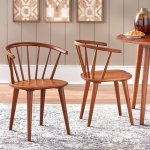 Simple Living Florence Modern Farmhouse Rubberwood Dining Chairs (Set of 2) (Walnut)