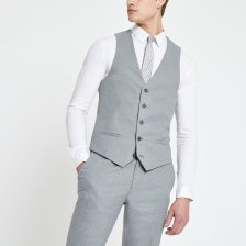 Shop Mens River Island Grey textured suit waistcoat and more