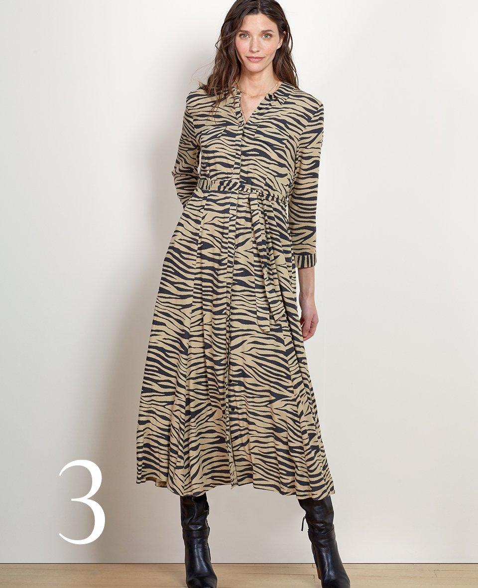 Shop Zuri Shirt Dress Sand & Black Zebra and more