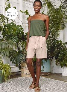 Shop Lennox Linen Blend Shorts Natural and more