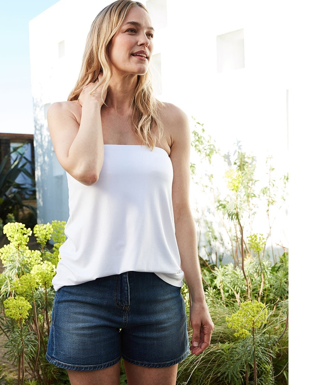 Shop Lily Top with LENZING™ ECOVERO™ Pure White, Tyra Organic Short Washed Indigo and more