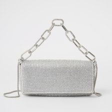 Shop River Island Womens Silver diamante embellished underarm bag and more