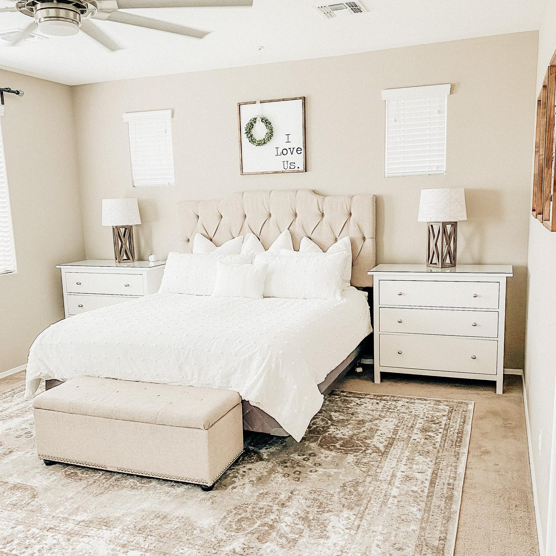 Pretty dream farmhouse bedroom Instagram Post