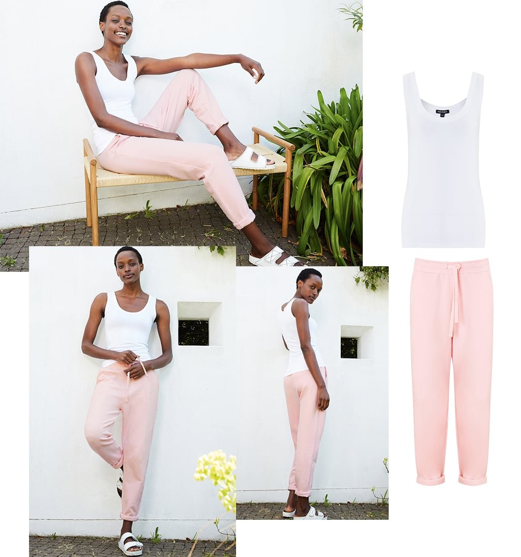 Shop Brenna Top with LENZING™ ECOVERO™ Pure White, Brooklyn Organic Jogger Chiffon Pink and more