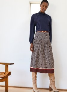Shop Chamille Skirt Navy Chain Print and more