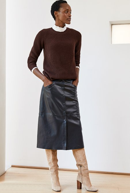 Shop Mila Crew Neck Jumper Dark Chocolate Brown, Mabel Top Soft White, Kara Button Skirt Caviar Black and more