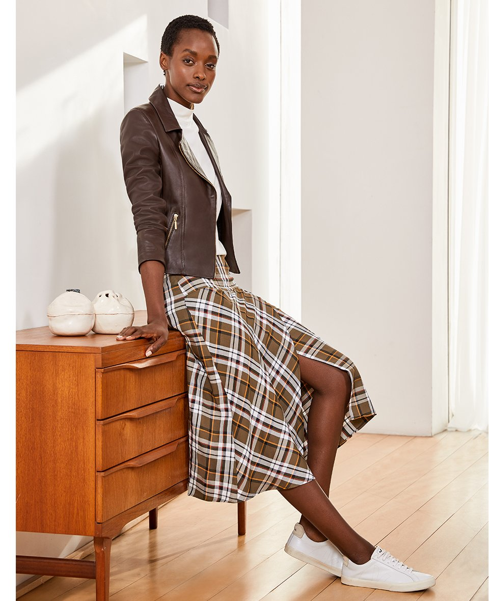 Shop Everyday Leather Biker Jacket Dark Chocolate Brown, Marianne Top Soft White, Cynthia Skirt Khaki Check and more