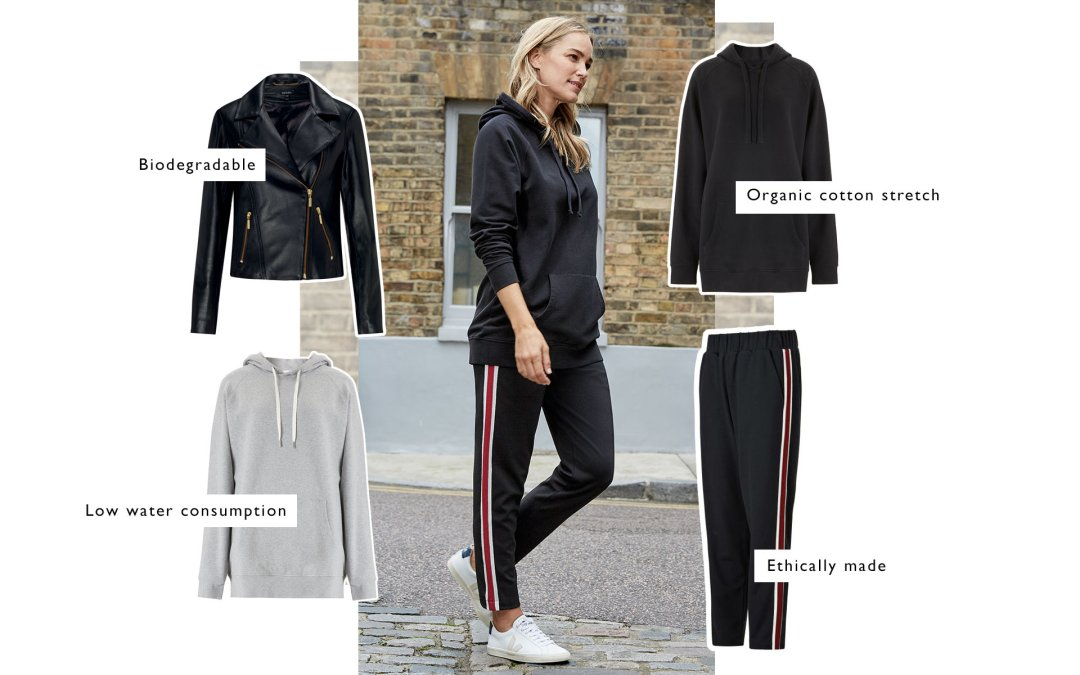 Shop Brooklyn Organic Hoodie Caviar Black, Georgie Pant Black with Soft White & Red Brick, Everyday Leather Biker Jacket, Brooklyn Organic Hoodie Grey Marl and more