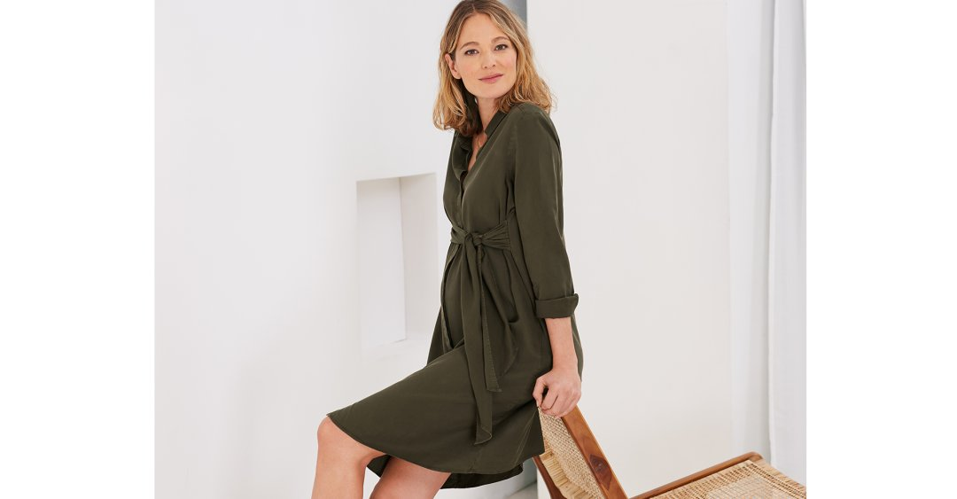 Shop Isabella Oliver Aiden Maternity Dress-Dark Khaki and more