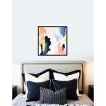Oliver Gal 'Happy Thoughts Spring' Abstract Framed Wall Art Print (36 x 36 - Black), Orange