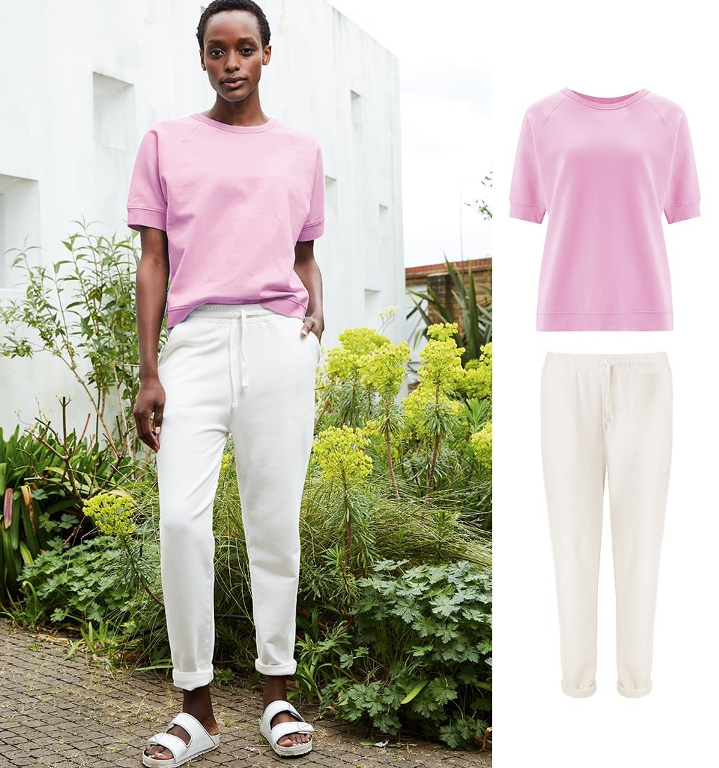Shop Lara Organic Top Pink Lavender, Brooklyn Organic Jogger Soft White and more