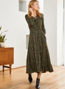 Shop Titania Dress Khaki Grain Print and more