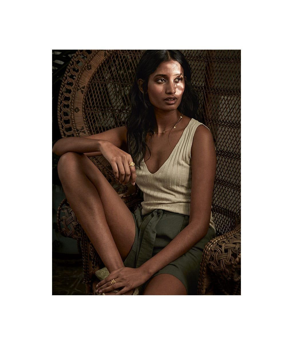 Shop Cecile Hemp Shorts Khaki, Denny Knitted Top with LENZING™ ECOVERO™ Barley and more