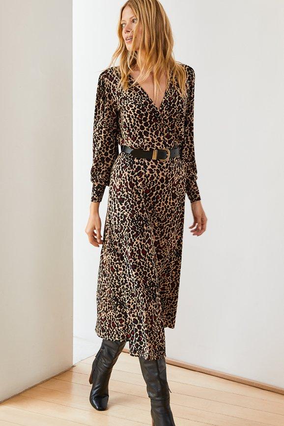 Shop Alanah Midi Dress Caramel Leopard Print and more