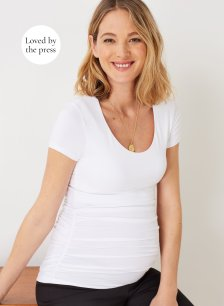 Shop Isabella Oliver Maternity Cap Scoop Top-Pure White and more