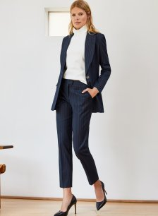 Shop Elizabeth Trouser Navy and White Pinstripe and more