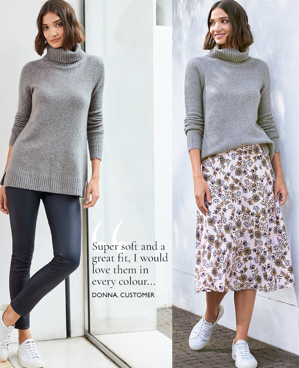 Shop Erica Roll Neck Mid Grey Marl, Liv Leather Leggings Classic Navy, Keira Skirt Pink Saraca Floral and more