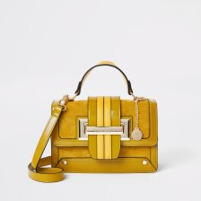 Shop River Island Womens Mustard buckle satchel cross body bag and more