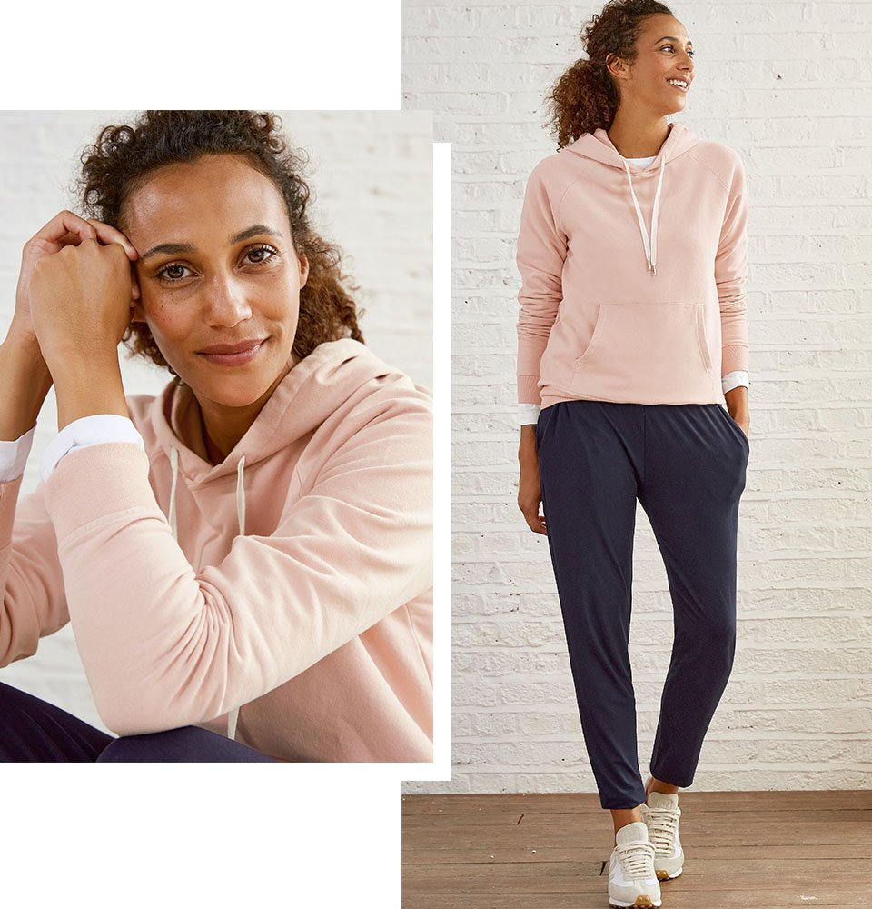 Shop Neath Pant with LENZING™ ECOVERO™ Classic Navy, Marte Organic Hoodie Rose, Baukjen Cotton Long Sleeve Top and more
