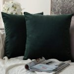 """Pack of 2 Velvet Soft Solid Decorative Throw Pillow Case Army Green 16"""" x 16"""""""