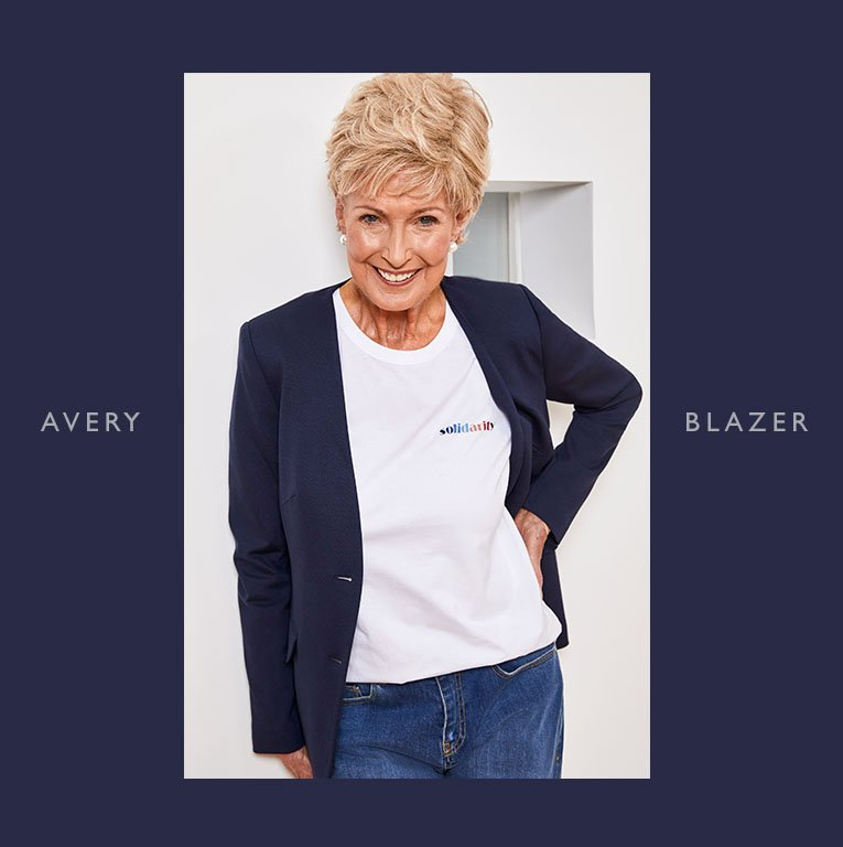Shop Avery Blazer Classic Navy, Lilou Tee Pure White and more