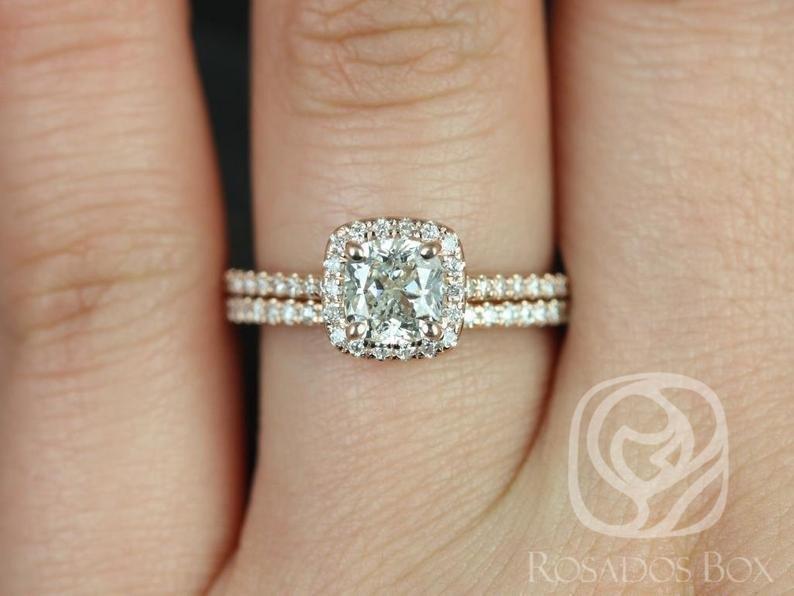 cushion diamond ring with thin microwave halo