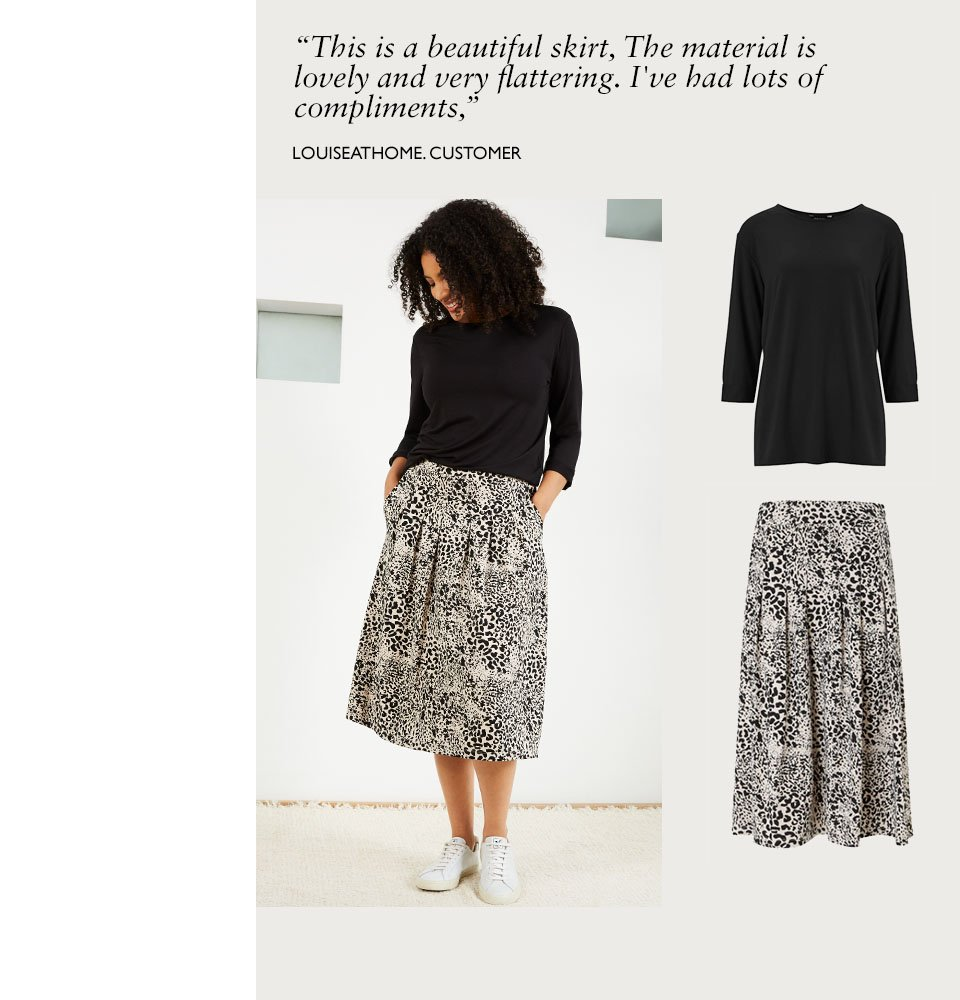 Shop Marnie Ecovero™ Top Caviar Black, Juliana Ecovero™ Skirt Almond Animal Print and more