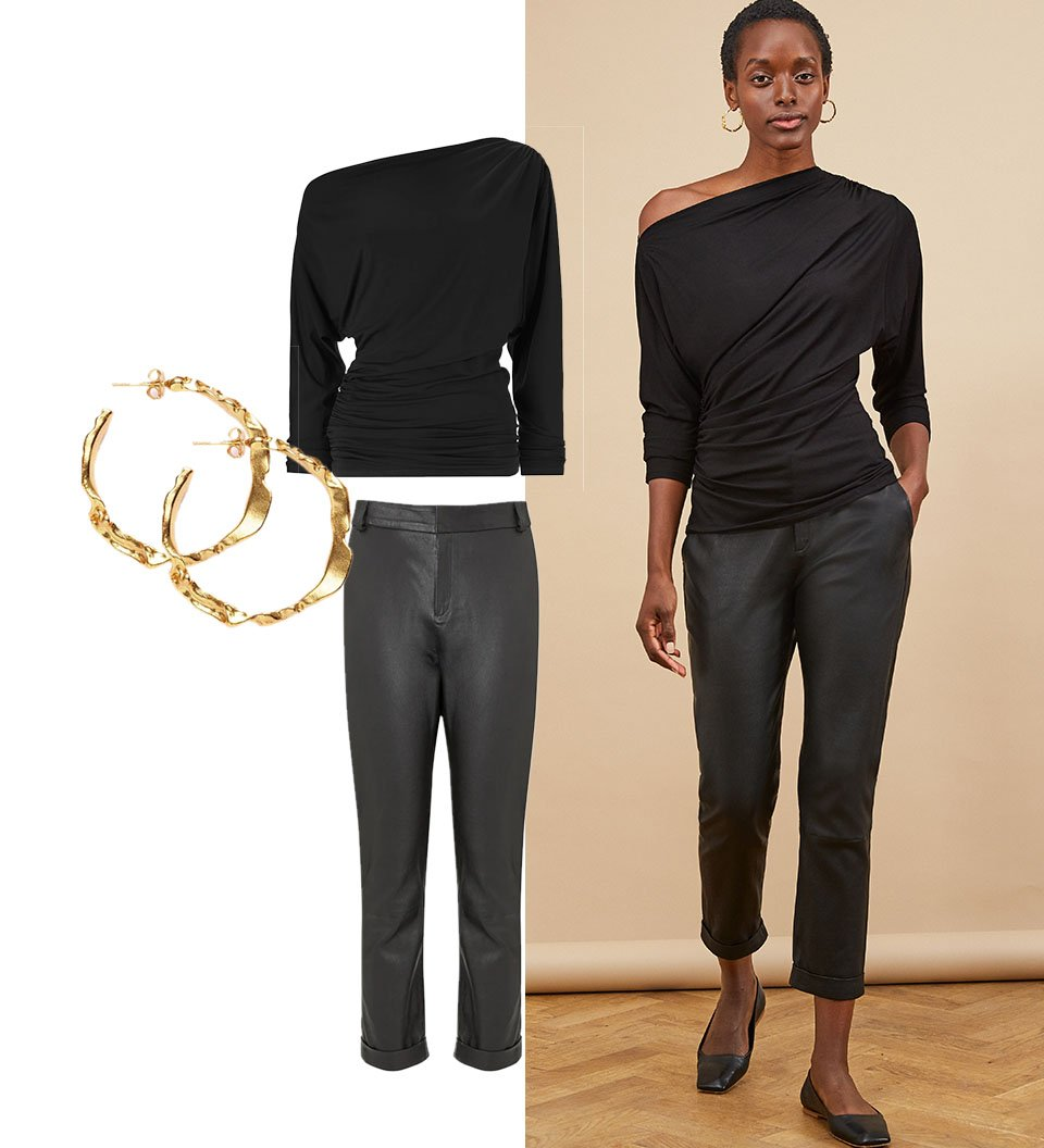 Shop Raven Leather Trouser Caviar Black, Sicily Earrings Gold, Logan Ecovero™ Top Caviar Black and more