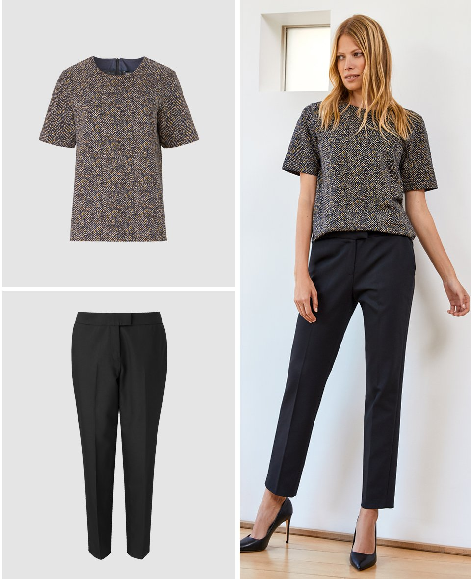 Shop The Cigarette Pant Caviar Black, Milano Top Navy Herringbone Print and more