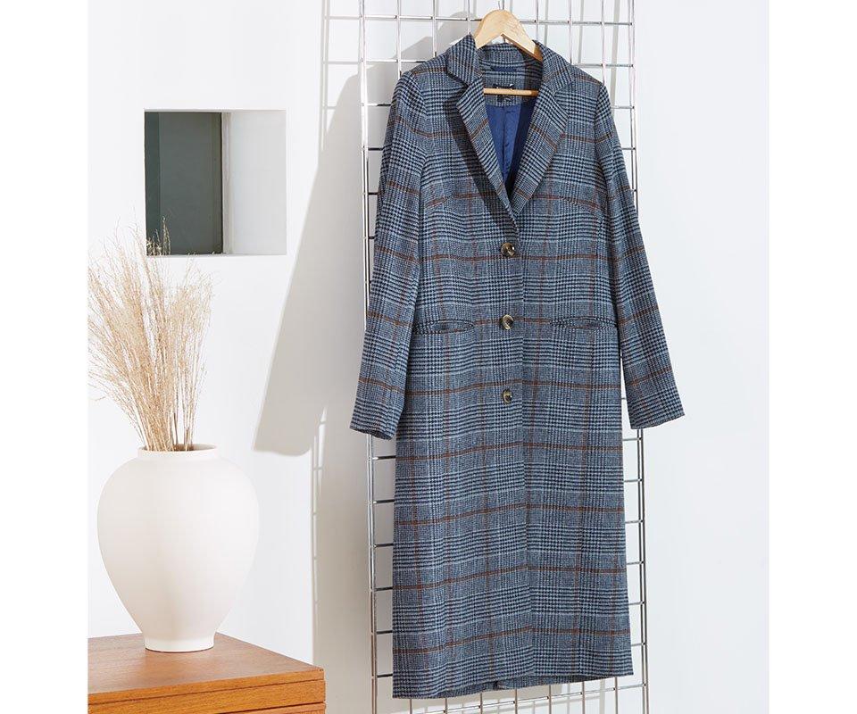 Shop Agnes Coat Blue Check and more