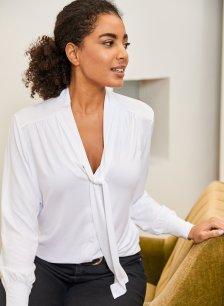 Shop Eleanor Tie Blouse Pure White and more