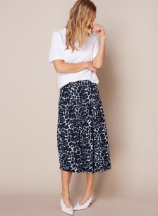 Shop Ophelia Skirt Blue Leopard Print and more