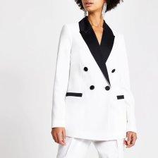 Shop River Island Womens White contrast satin lapel blazer and more