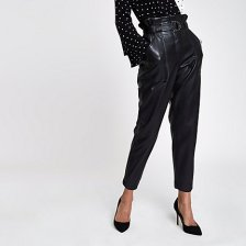 Shop Womens Black faux leather paper bag waist trousers and more