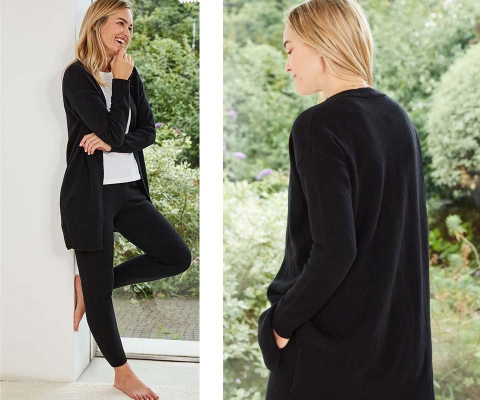 Shop Darcy Eco Cashmere Cardigan Caviar Black, Darcy Eco Cashmere Trouser Caviar Black and more