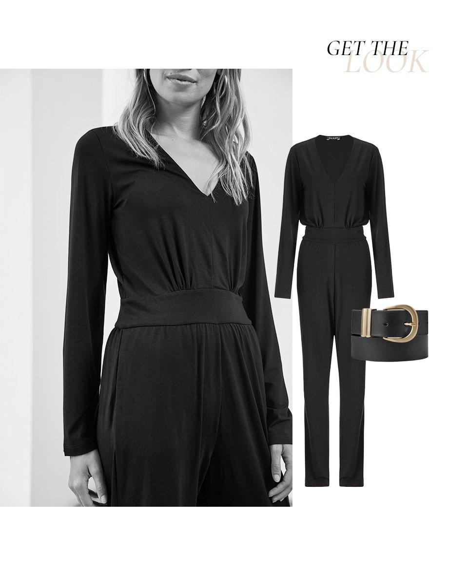 Shop Giselle Jumpsuit Caviar Black, Baukjen Signature Gold Buckle Belt Caviar Black and more