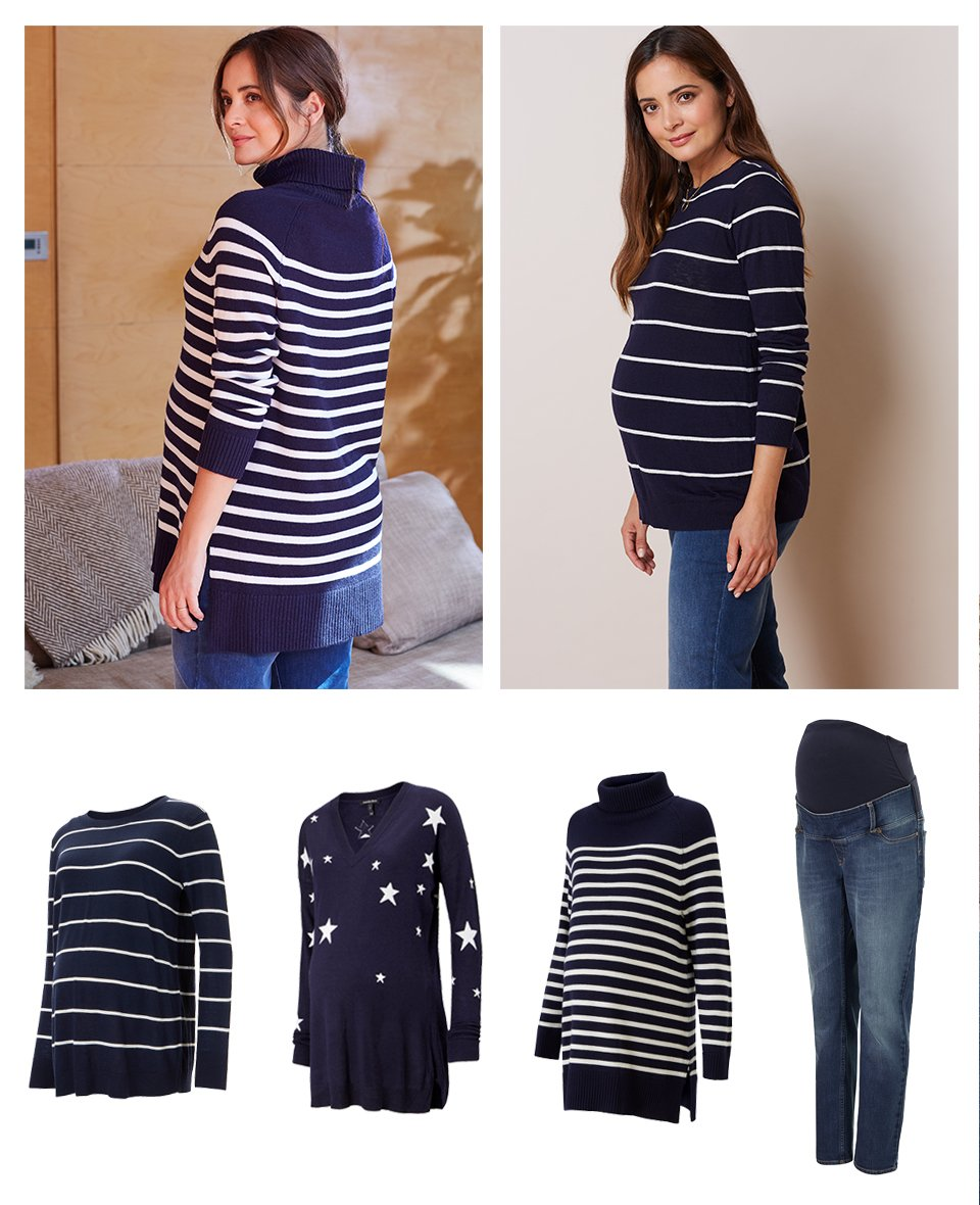 Shop Isabella Oliver Danielle Maternity Knit, Isabella Oliver Jolie Maternity Stripe Turtleneck-Navy with White Stripe, Isabella Oliver Annora Maternity Intarsia Knit-Darkest Navy & Off White, Isabella Oliver Over the bump Maternity Boyfriend Jean-Washed Indigo and more