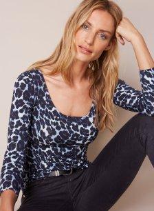 Shop Ophelia Ballet Top Blue Leopard Print and more