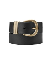 Shop Baukjen Signature Gold Buckle Belt Caviar Black and more