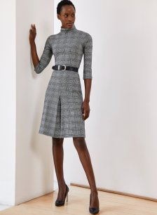 Shop Perla Dress Caviar Black & White Check and more