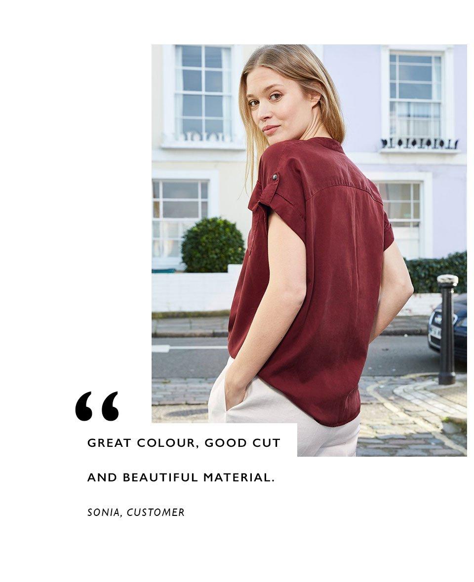 Shop Lillia Shirt Carob, Lena Trousers Soft White and more