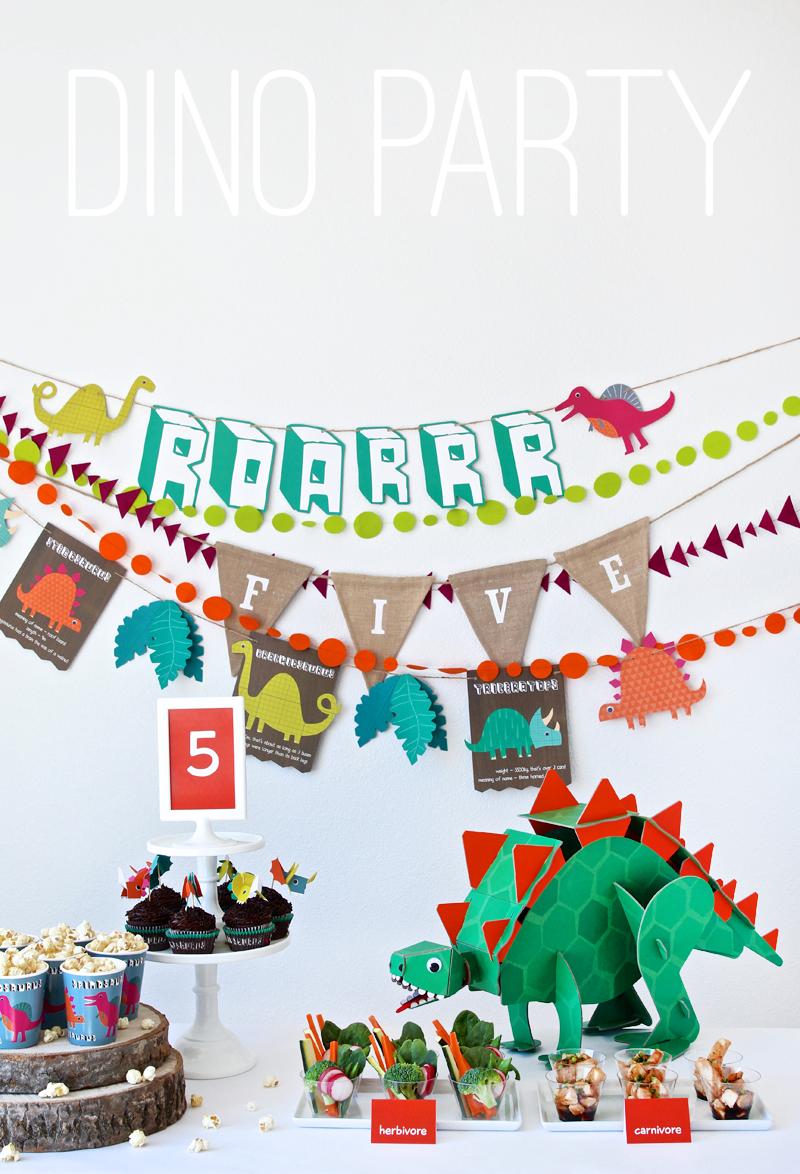 Dinosaur Birthday Party Banner and Footprints Garland