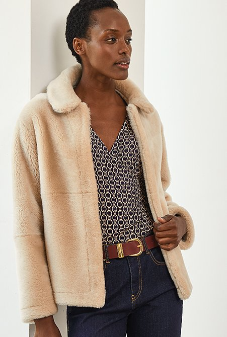 Shop Chamille Top Navy Chain Print, Baukjen Signature Belt Gold Buckle Oxblood, Iman Jacket Champagne and more